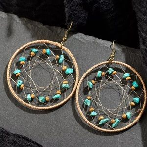 BOGO! Turquoise Mandala Hoop Earrings Boho